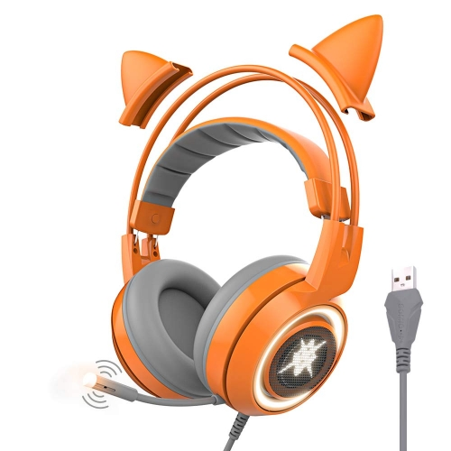 SOMIC G951orange Gaming Headset with USB Work with PC, PS4, Laptop: 7.1 Virtual Surround Sound Detachable Cat Ear Headphones LED, Lightweight Self-Adj