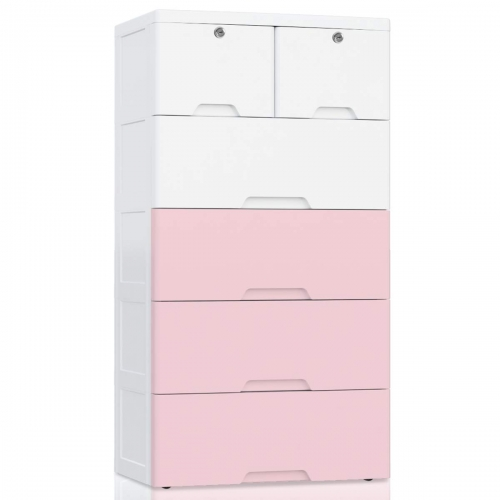 6 Drawer Kids Storage Cabinet, Large Lockable Storage Drawer Chest for Kids Clothes, Bedroom Organizer on Wheels - White&Pink