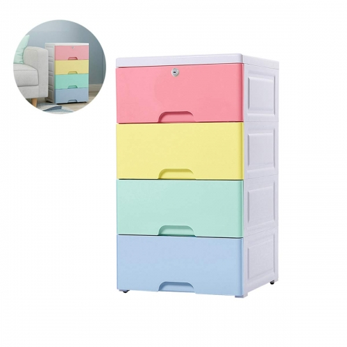 Nafenai 4 Drawer Dresser,Plastic Storage Chest with Drawers,Small Storage Dresser Cabinet with Lock for Toys Clothes Organizer,Drawer Storage Cabinet