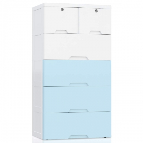 Nafenai 6 Drawer Kids Storage Cabinet, Large Lockable Storage Drawer Chest for Kids Clothes, Bedroom Organizer on Wheels - White&Blue
