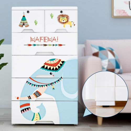 Nafenai 6 Drawer Dresser,Plastic Storage Drawers Cabinet Toy and Clothes Organizer,Storage Chest with Drawers for Bedroom/Playroom/Living Room,Cute Dr