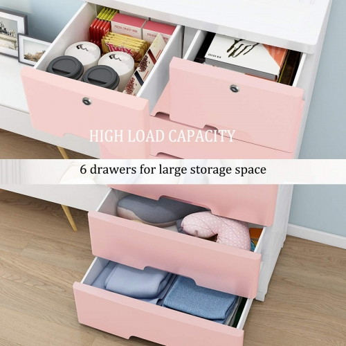 Nafenai 6 Drawer Dresser,Storage Chest with Drawers,Plastic Storage Dresser Cabinet for Clothes Toys Organizer,Storage Drawers Units with Lock & Wheel
