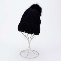 Similar Wool Touching Multicolour Comfortable Fashionable Women Winter Knit Warm Caps With Soft Pom