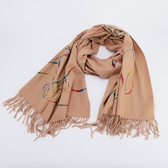 Similar Wool Touching Simple Fashinable Stripe Printed Tassels Long Winter/Autumn Women's Scarf