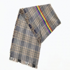 Wholesale Winter Thick Acrylic Plaid Scarf With Rainbow Tassels