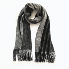 Wholesale 100% Acrylic Knitted Jacquard Fringed Scarf