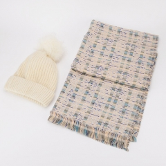 Comfotable Fashionable Winter Knit Warm Hap With Soft Pom And Elegant Muticolour Stripe Pattern Small Tassels Fringe Spring/Autumn/Winter Long Scarf For Men & Women