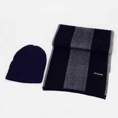 All-matching Bright Colours Knitted Hat And Similar Wool Touching Double Faced Soft Strech Men's Business Long Scarf