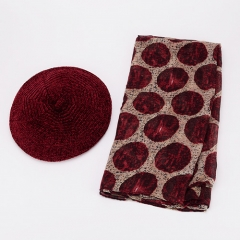 Burgundy Chenille Beret Hat And Similar Silk Touching Translucent & Thin Dots Pattern Women's Scarf