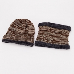 Similar Wool Handfeeling Set of Fashionable High Quality Warmer Knitted Hat and Short Loop Scarf Set