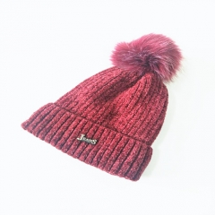 Chenille Alphabetic Metal Decoration Knitted Hat With Pom