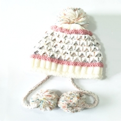 Knitted Hat Winter Warm Cap With Two Poms