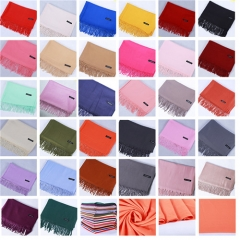 Star Style Fall and Winter 2019 New Pure-color Warm Cashmere Imitated Cashmere Scarf Female Single-color Tassel