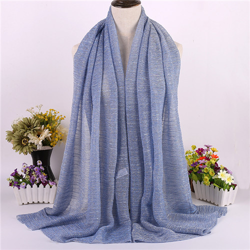 New Muslim Scarf with Fashion Headscarf Arab Long Scarf Autumn Spring Summer Hijab Metallic Yarn Shawl