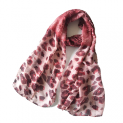 High Quality Fashion Ladies Leopard Printed Textured Polyester Scarf