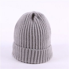 Single-layer Crimped Knitted Hat Female Autumn Winter Pure Color All-matching Cap