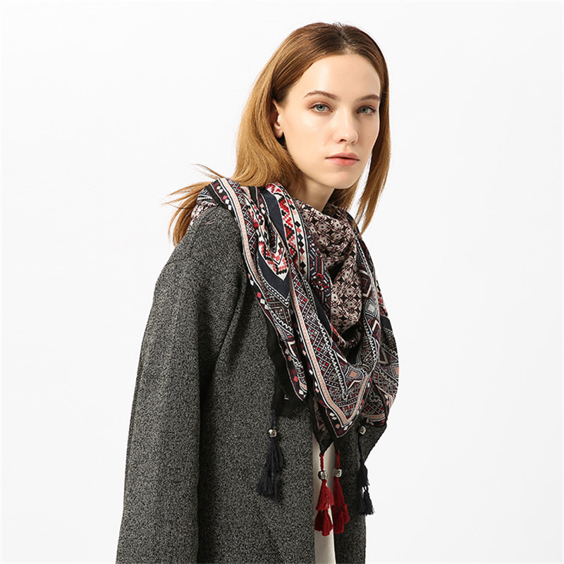 Amazon Hot Selling Best Price Printed Scarf Wrap With Tassels for Women