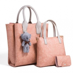 PU2001 Hot Selling Soft Pu Leather Top Handle Lady Set Handbag With Mini Bear