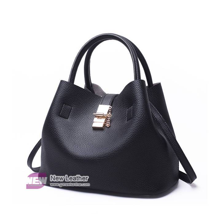 High Quality Solid Color Bucket Style Shoulder Handbag For Women