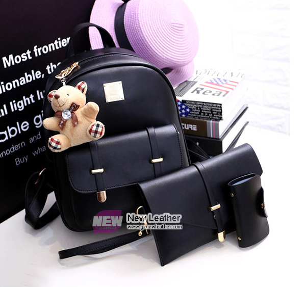 Popular style bear accessory PU leather backpack purse