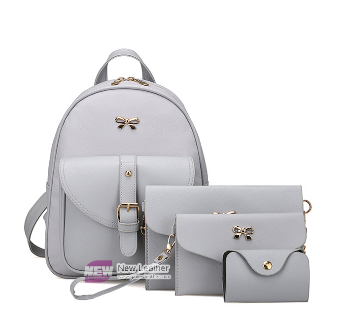 New style solid color elegant PU leather Backpack