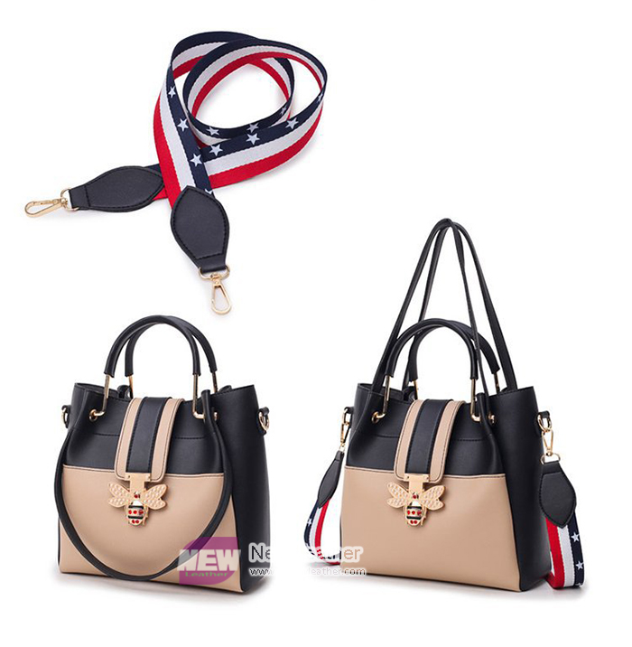 Small MOQ Wholesale Contrast colors Metal handle 2 pieces handbags for women