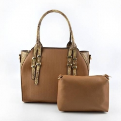 ST1081 Latest design Snake Skin Pattern handle Women hand bags set