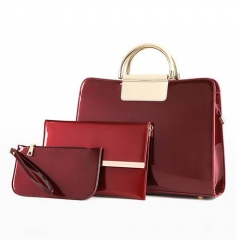 1878  Fashion designer Shiny Color  Women hand bags set with Metal handle