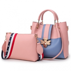 NPU0479 Small MOQ Wholesale Contrast colors Metal handle 2 pieces handbags for women