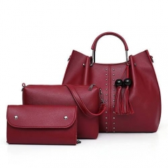 1914 New Arrival Fashion Studds Metal handle famous brand handbags set for lady