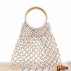 BC0187 Stock Available Round handle Cotton Wholesale Straw Handbag for Women