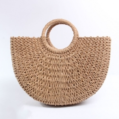 BC0125 High quality Half Moon Paper Straw Shopping Bag For Women