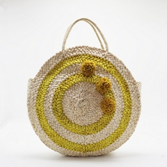 BC0122  Unique fashion Round Style Contrast Color Straw Flower Bag