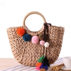 BC0162 Classical Fashion corn bran wholesale straw handbag with colorful fur ball and tassel