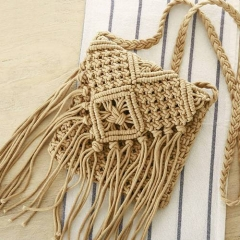 BC0155 Woven Cotton Summer Beach Cross body Bag