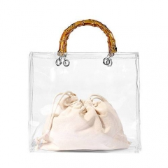 PU2039 Wholesale Fashion Transparent Tote Bag With Wood Handle