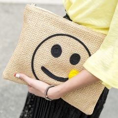 BC0112 New model  Straw Clutch Wallet With Smile