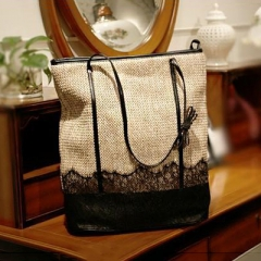 BC0110 Summer fashion Straw  Long Strap Shoulder Bag With  Lace