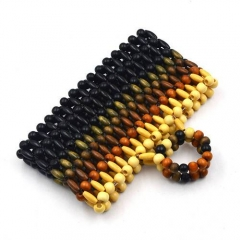 EV127-1 Fashion latest design handmade wooden beads handbag for woman