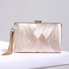 EV131 Wholesale manufacture silk lady clutch evening bag with tassels