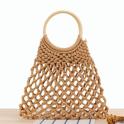 BC0187 Hollow out cotton rope woven style handbag summer beach bag for women