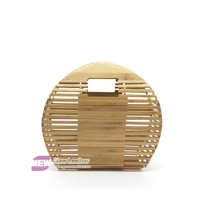 Round Shape Hollow Out Wood Lady Handbag Hand Made
