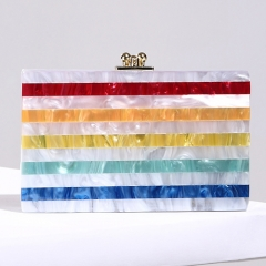 EV78389 Beautiful Rainbow Color Designer Acrylic Handbag