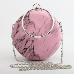 EV137 New product 2019 round marble personalized acrylic clutch bag for lady