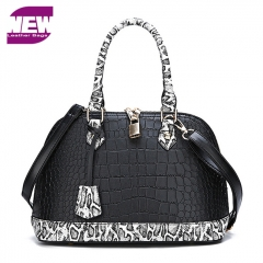 PU2085 Fashion trendy Double zippers lock PU Alligator print leather Women hand bag With Snake print handle