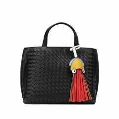 PU2143 Best selling Korean Faux leather Women Woven Knitted  Tote bag With Tassel Charm Pendant