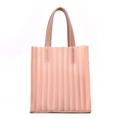 PU2151 2019 Summer Singapore style Stripe Silicone Candy Jelly Tote Set bag for Women