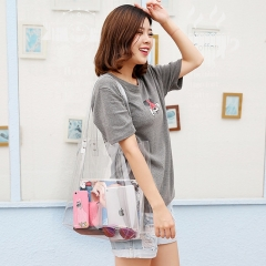 PU2158 Hot Selling Summer Rectangle Gift Custom Women PVC Clear Transparent Large Size Tote Shopping Bag