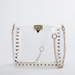PU2161 Customised design transparent studded tote chain clear pvc bag lady clear fashion bags