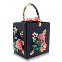 EV139 High end Metal handle Flower Pearls Square box Wedding Evening Clutch bag